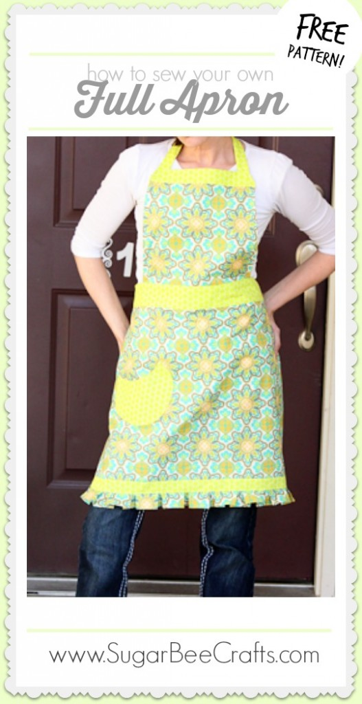 how to sew your own full apron with free pattern