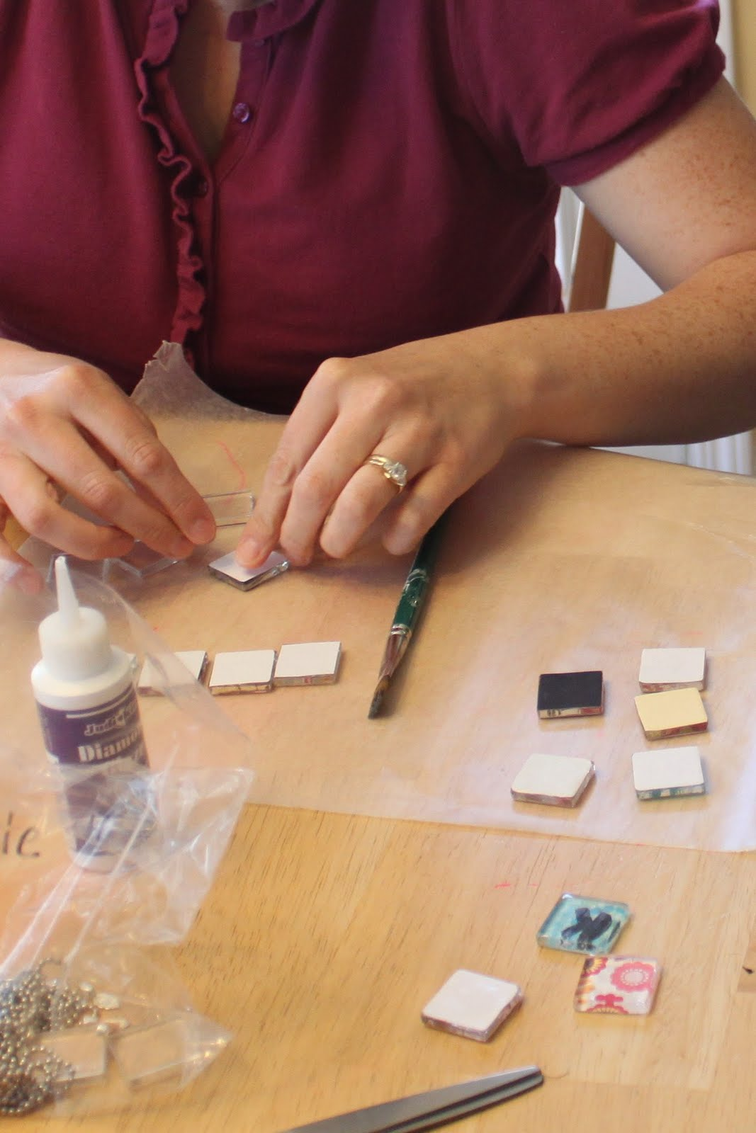 Glass tile pendants sugar bee crafts tutorial mozeypictures Image collections