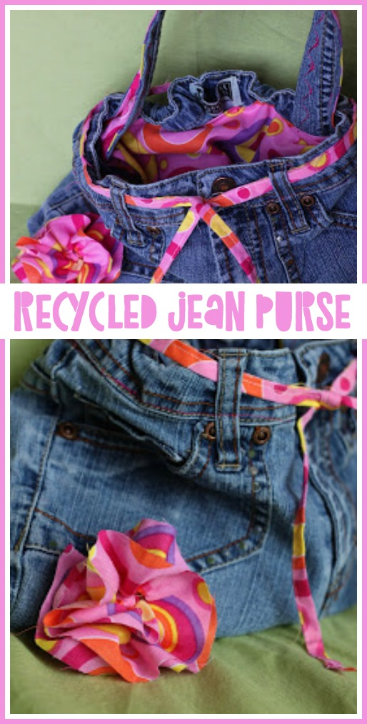 Recycled jean purse diy craft project idea