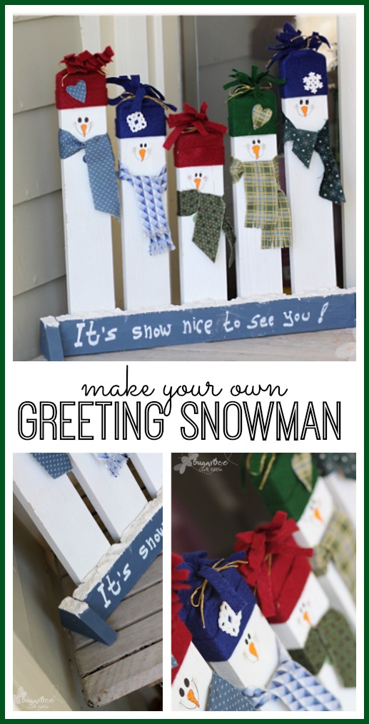 Greeting snowman porch decor