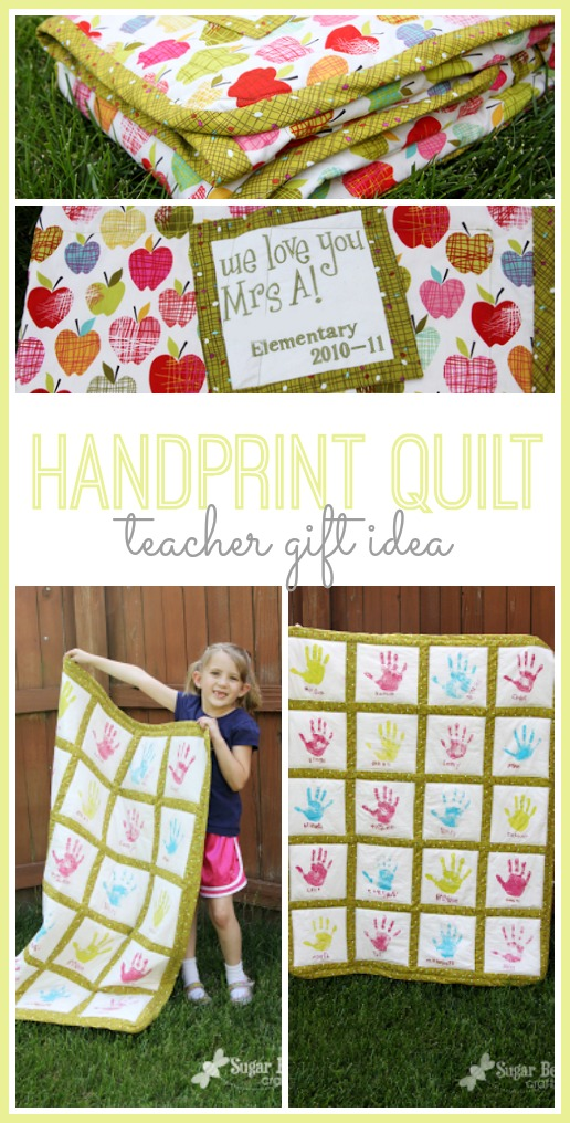 classroom handprint quilt teacher gift idea