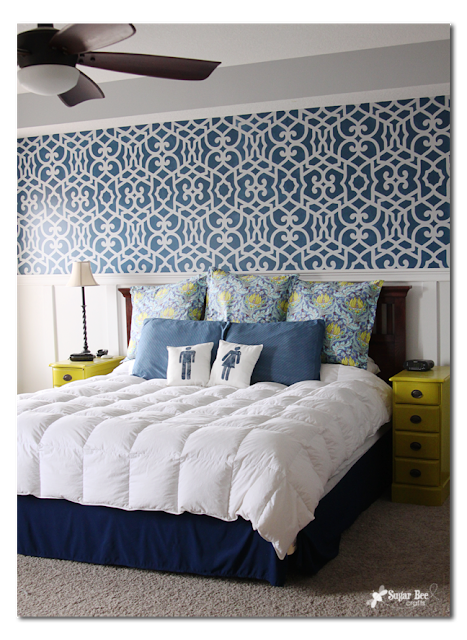 stenciled wall bedroom with nightstands diy idea