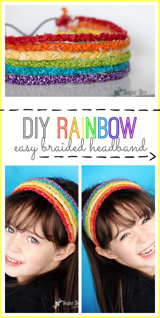 diy rainbow braided headband