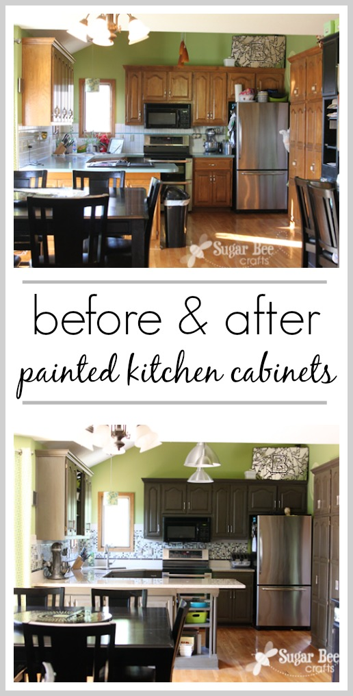 Painted kitchen cabinets diy before and after