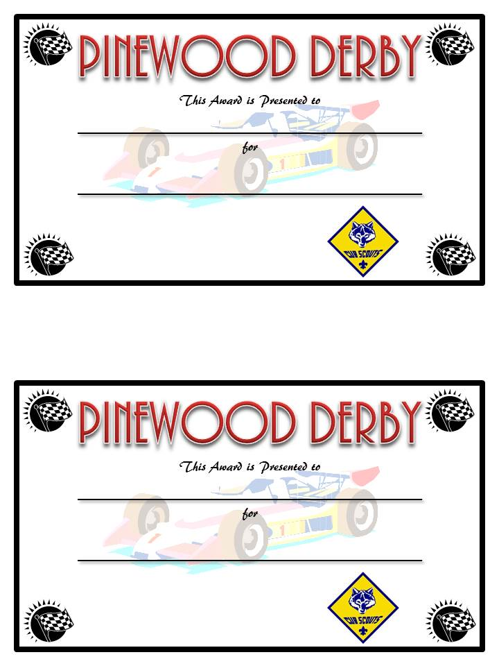 Diy pinewood derby trophies and certificates sugar bee for Boy scouts pinewood derby templates