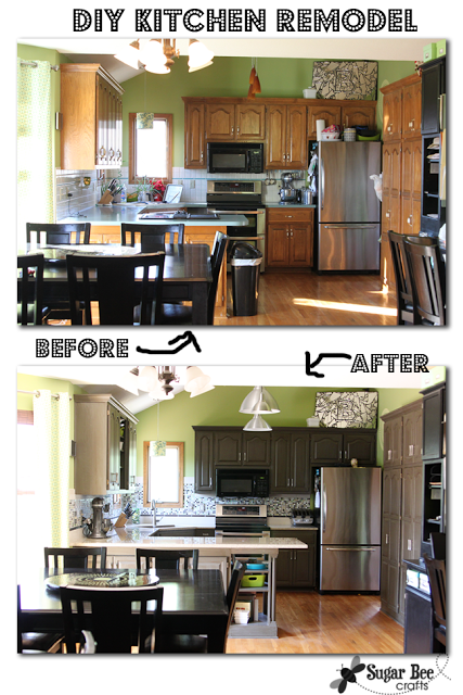 DIY Kitchen remodel gray cabinets