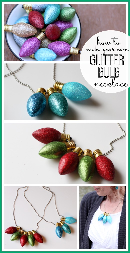 glitter bulb necklace how-to tutorial