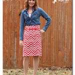 Red Chevron Skirt, denim shirt