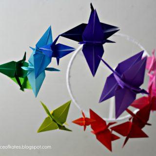 Origami Crane Mobile Rainbow