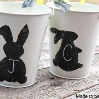 Chalkboard Bunny Easter Bucket