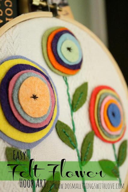Felt Flower Hoop Art Sugar Bee Crafts