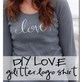 Diy+love+logo+glitter+vinyl+shirt