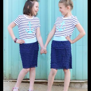 Easy+to+sew+ruffle+skirt+nautical+how+to