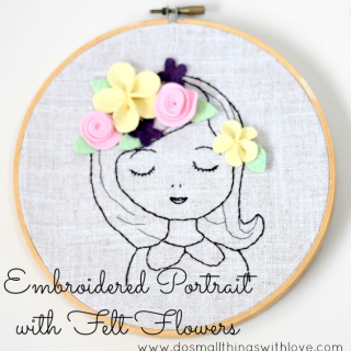 Embroidered Portrait with Felt Flowers
