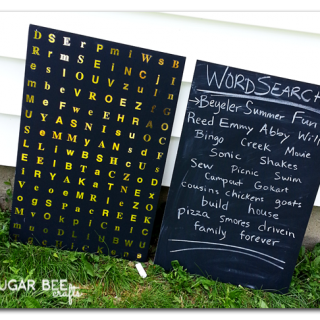 Foam board chalkboard word search