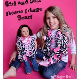 Girl+and+doll+fleece+fringe+scarf