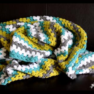Granny+stripe+crochet+blanket