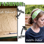 DIY twisted headwrap headband, neon refashion