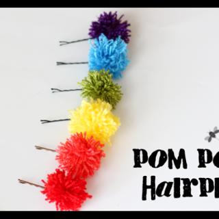 Rainbow Pom Pom Hairpins