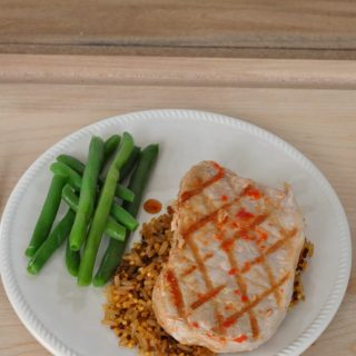 Red pepper pork chops labeled wm