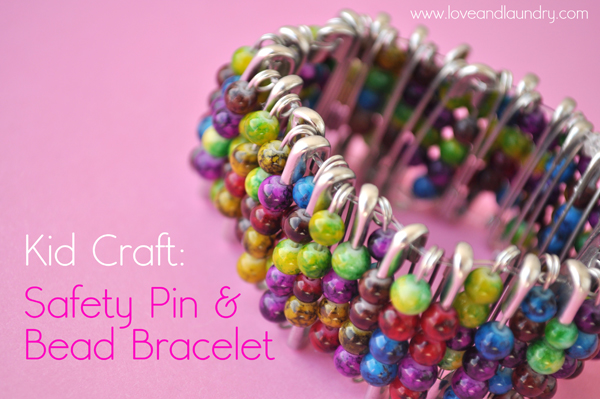 Safety pin bead bracelet kid craft contributor sugar for Bead craft ideas for kids