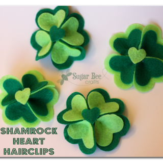 Shamrock+heart+hairclips