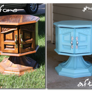 furniture transformation with spraypaint
