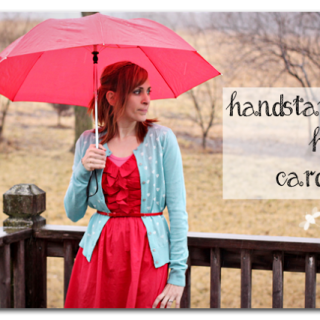Tutorial heart hand stamped cardigan