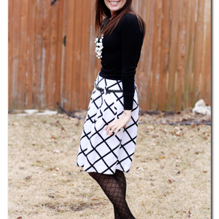 White+black+skirt