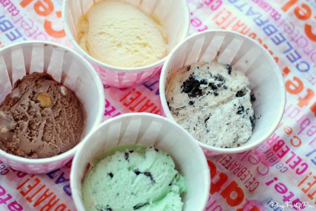 Ice cream cups and flavors