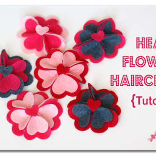 Heart+flower+hairclips+felt