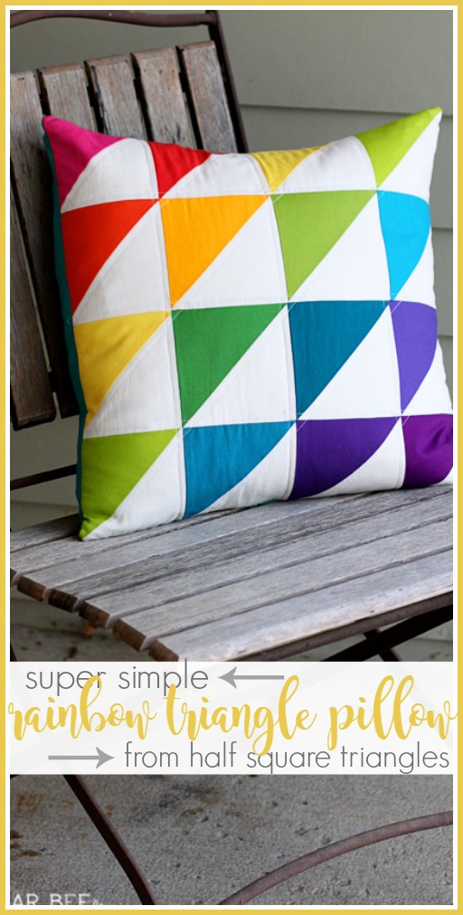 hst rainbow triangle pillow half square triangle simple quilting