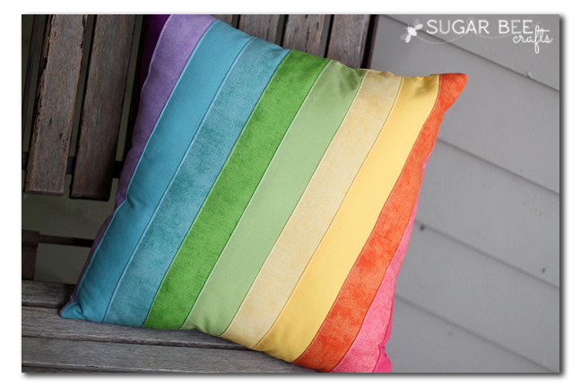 quilted rainbow pillow