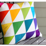 quilted triangle rainbow pillow