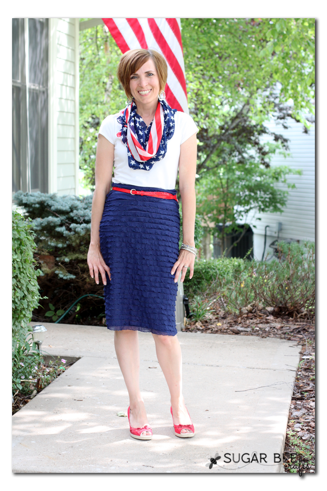 red white blue dressy scarf