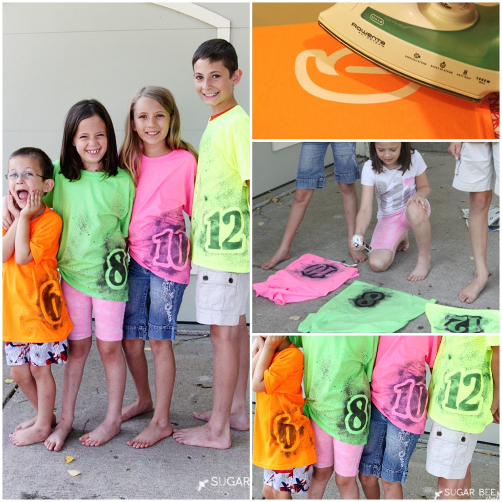 spray paint number shirt