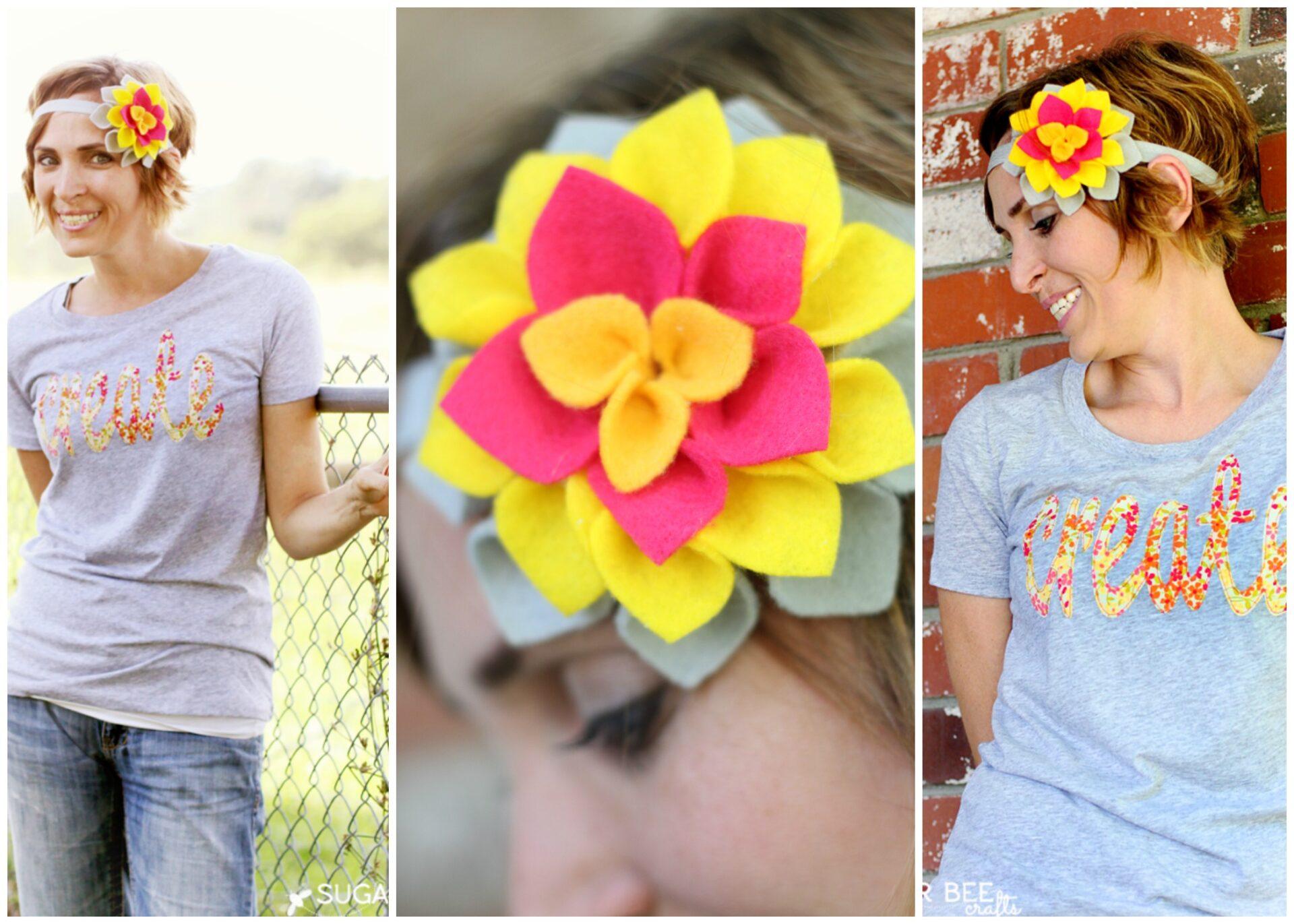 Felt Dahlia Flower Headband Sugar Bee Crafts