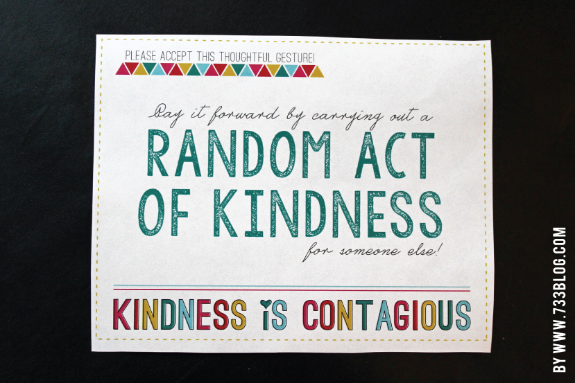 Random Acts Of Kindness Free Printable Template Card