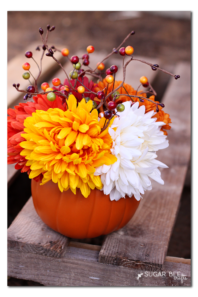 fall flowers in a pumpkin - cute craft idea!