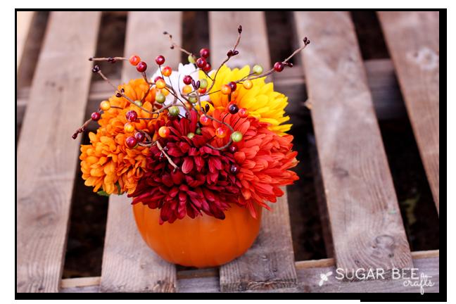 fall flower pumpkin arrangement sugar bee crafts
