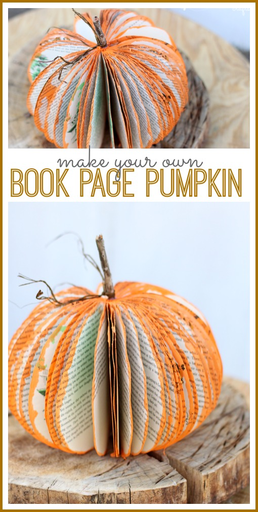 how to make your own book page pumpkin