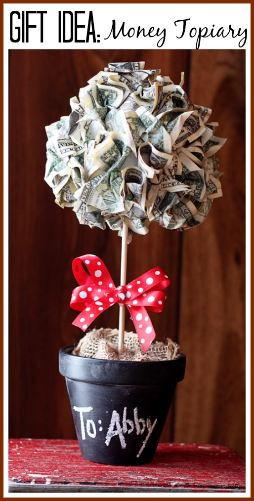 Money topiary gift idea sugar bee crafts for Making crafts for money