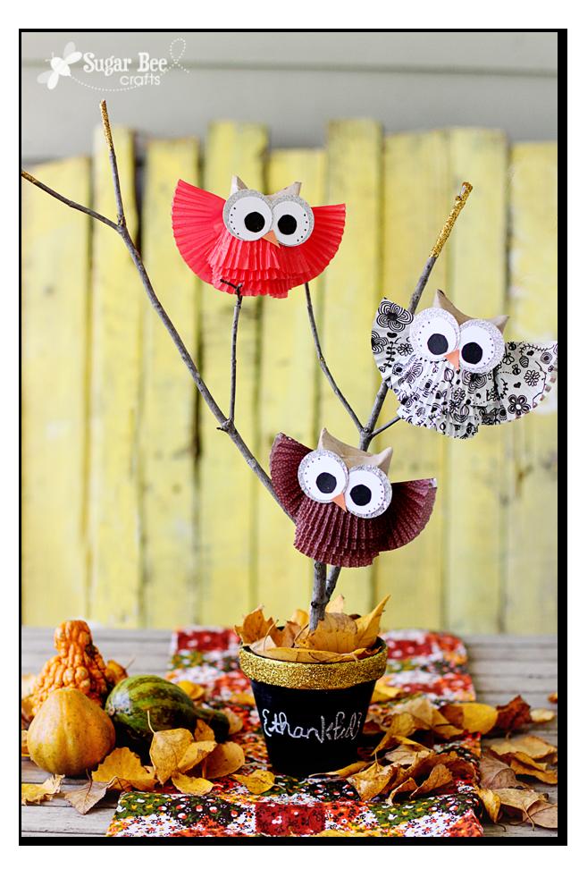 cupcake liner owl centerpiece gold
