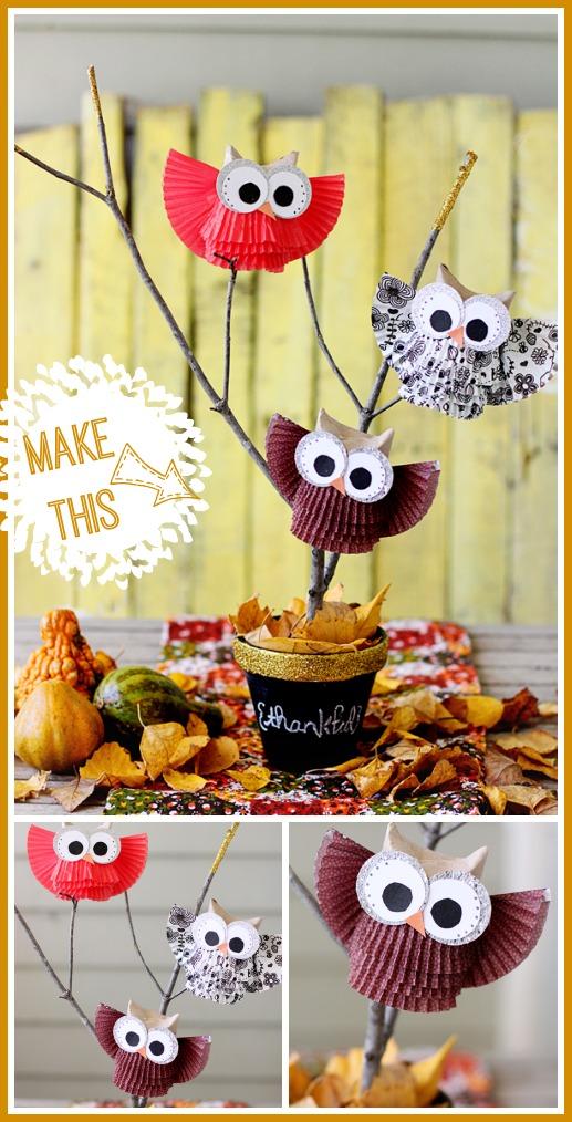 cupcake liner owl centerpiece