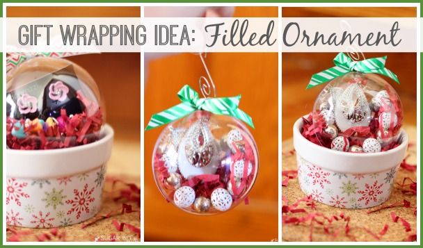 gift wrapping idea filled ornament