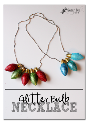 glitter bulb holiday necklace
