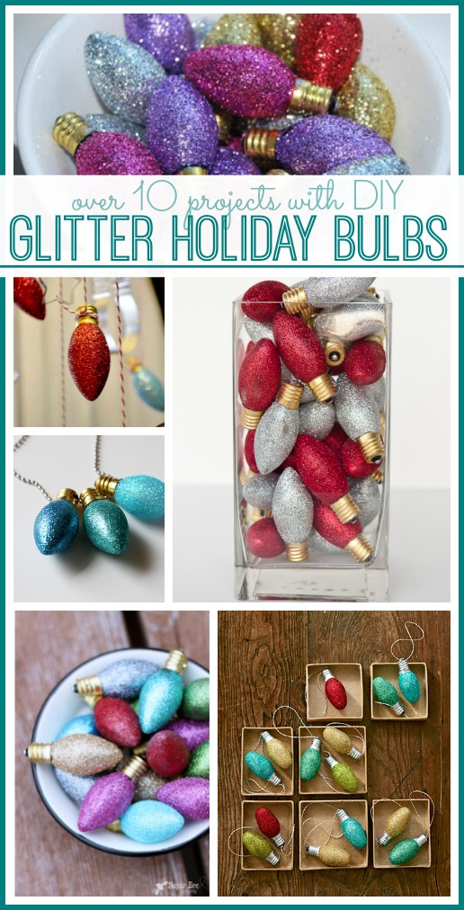 glitter holiday christmas light bulbs projects
