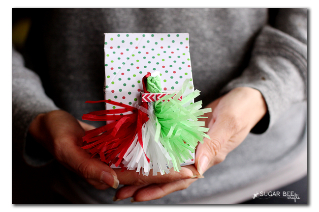 tissue paper tassle gift bow