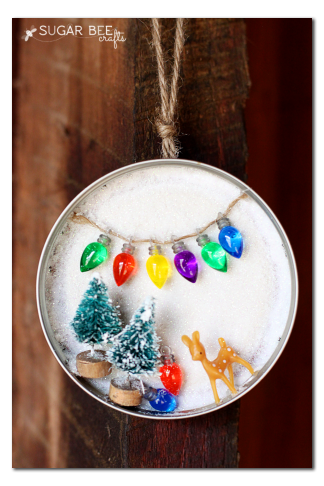 winter scene in a mason jar lid - cute ornament