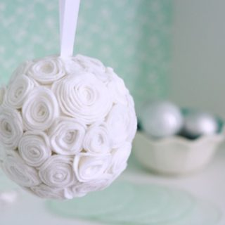 A felt flower kissing ball horizontal
